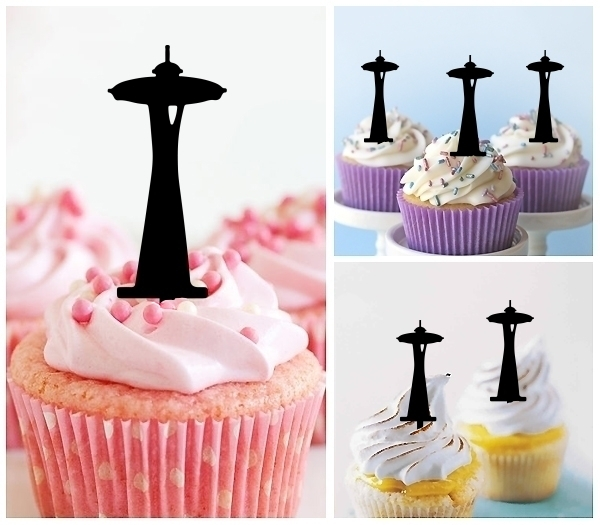 Laser Cut Seattle Space Needle cupcake topper