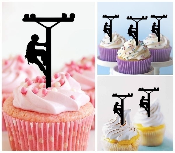 Laser Cut Power Electrician Lineman cupcake topper