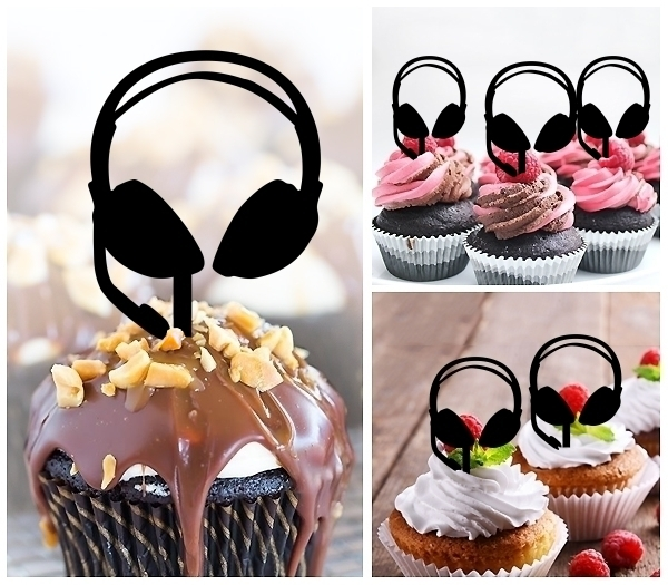 Headset Headphone DJ Remix Acrylic Topper Cupcake Decoration fdf8102bc6