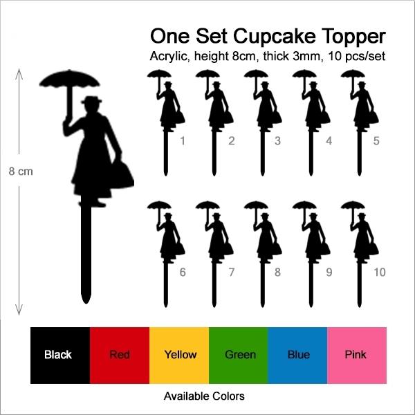 Mary Poppins Topper Cupcake แมรี่ป๊อปปินส์ถือร่ม