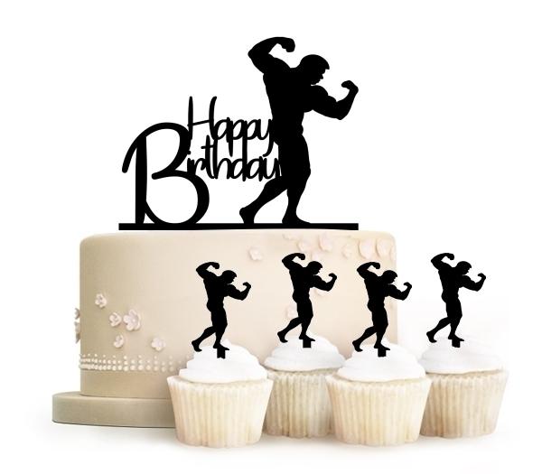 Happy Birthday Bodybuilding Topper Cake น กก ฬาเล นกล าม